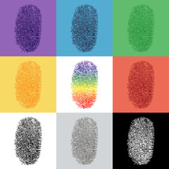 Set of colorful fingerprint