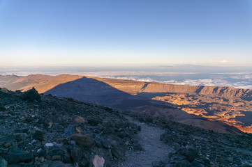 Sunset and shadow of volcano Teide. Tenerife