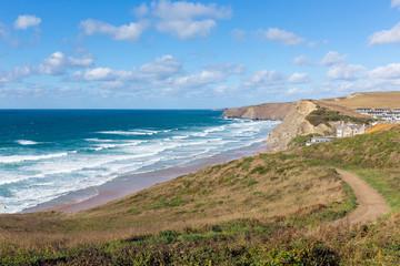South West coast path Watergate Bay Cornwall England UK