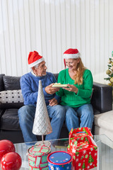 senior couple give gift box christmas present