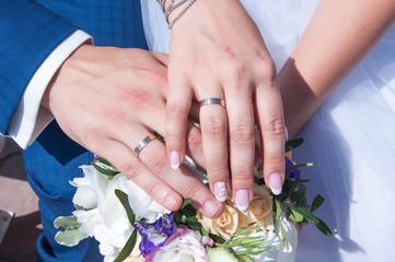 Манкюр невесты и жениха, кольца