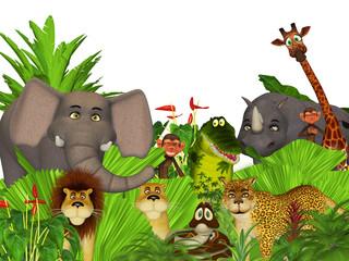 3d cartoon wild jungle animals
