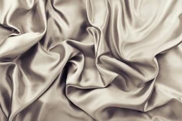Golden brown rumple satin fabric