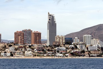 Skyscrapers in the coast of Benidorm city