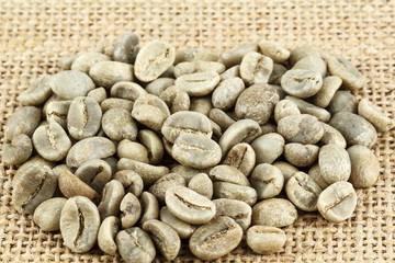 Green coffee beans shown on the canvas
