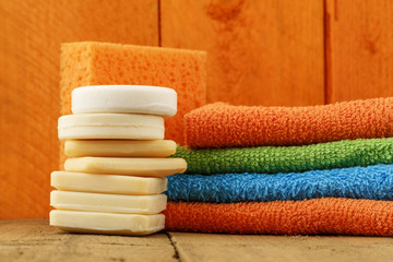 Soaps, towels and sponge