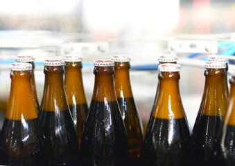 Fliessband mit Bierflaschen in einer Brauerei // brewery