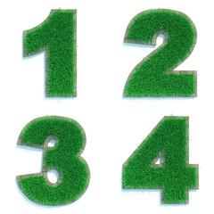 Digits 1, 2, 3, 4 of Green Lawn.