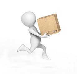 3d man with carton box