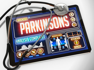 Parkinsons on the Display of Medical Tablet.