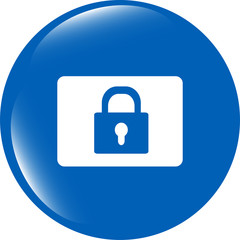 closed padlock icon web sign isolated on white