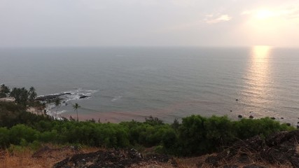 Sunset at Anjuna beach from the hill