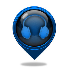 Headset pointer icon on white background