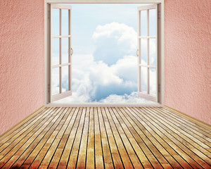 Room with open window blue sky clouds freedom concept