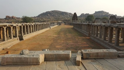 Pan around Vittala temple circa march 2014 in Hampi in India