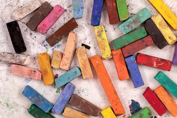 Used pastels sticks