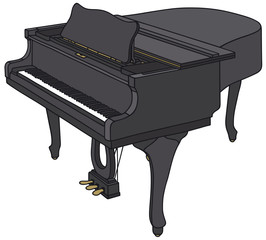 Hand drawing of a black grand piano