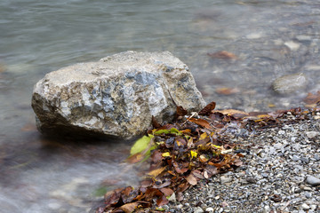 Stone in a lake in autumn with colorful leaves