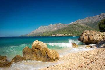 beautiful blue dalmatian coast with sea waves
