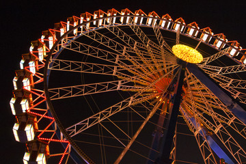 Ferris wheel at the Oktoberfest at night