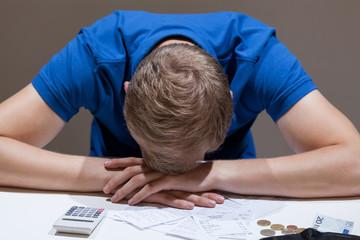 Frustrated man not having money