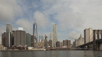 Time lapse zoom in extreme close up Manhattan skyline