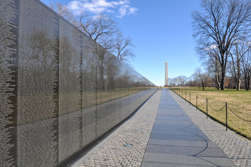 Vietnam War Memorial with Lincoln Memorial in Background