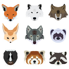 Set of Wolf Fox and Wildlife Animals Vector and Ico