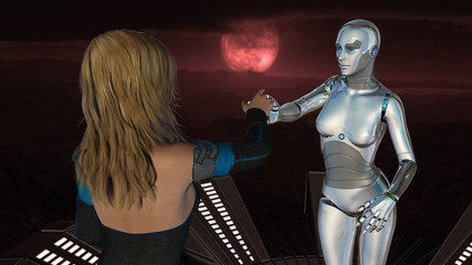 Female Human and Robot - Artificial Intelligence Technology