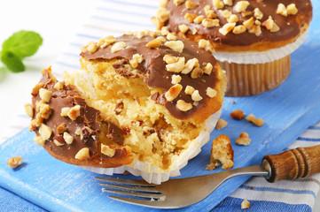 Chocolate glazed muffins