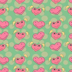 Texture of pink hearts on a blue background, editable vector