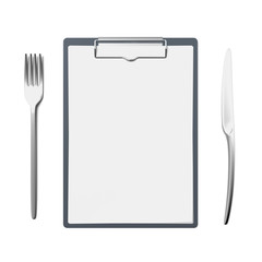 Clipboard with knife and fork