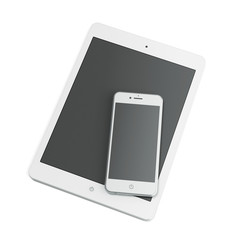 White tablet and smart phone