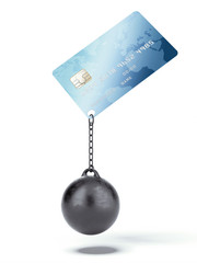 Credit card with chain and weight