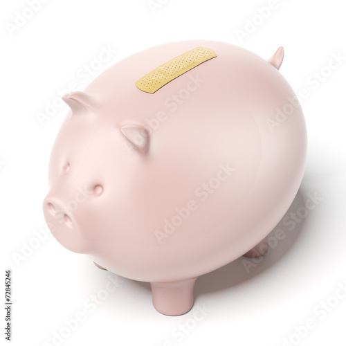 piggy bank with adhesive plaster