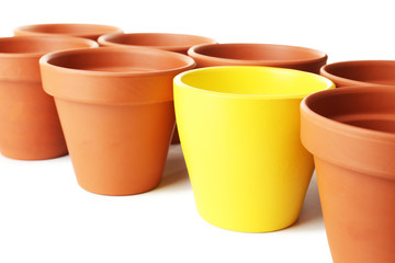 Individuality concept. Flowerpots close-up