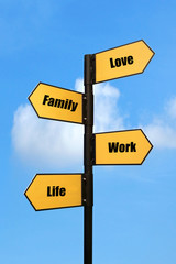personal Goals, on road sign board, blue sky background