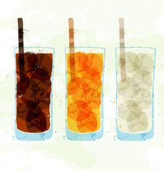 Set of multi-colored glass cup stains.