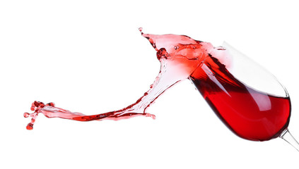 Splash of red wine isolated on white