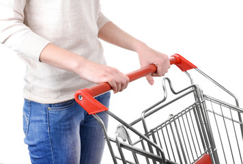 Woman with trolley isolated on white