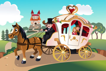 Prince and princess in horse wagon