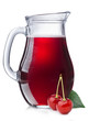 Cherry juice in a pitcher