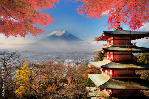 Mt. Fuji with fall colors in Japan. - 72848283