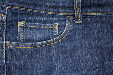 Fashion of the pocket of blue denim jeans