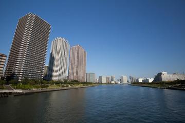 隅田川河口の高層マンション