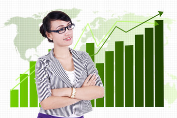 Businesswoman with global business chart