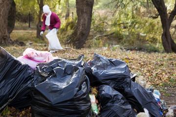bags of garbage lying in park