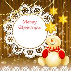 Рождество со снеговиком и звездами