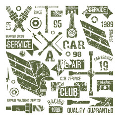 Car service badges in retro style