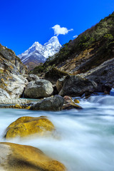 Snow covered mountains and rocky peaks in Himalaya